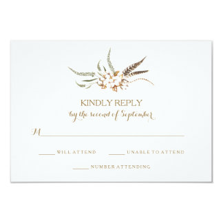 Watercolor Cotton Wreath Feather Wedding RSVP Card カード