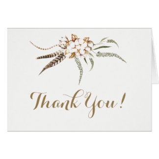 Watercolor Cotton Wreath Feather Wedding Thank You カード