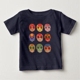 Watercolor Dia de los Muertos Skulls ベビーTシャツ