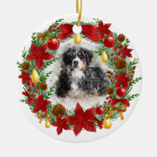 Watercolor Dog Christmas Ornament セラミックオーナメント