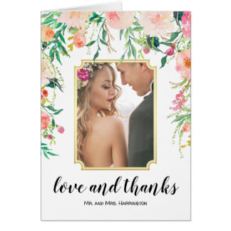 Watercolor Floral Wedding Photo Thank You カード
