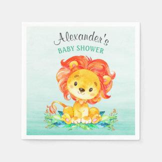 Watercolor Lion Baby Shower スタンダードカクテルナプキン