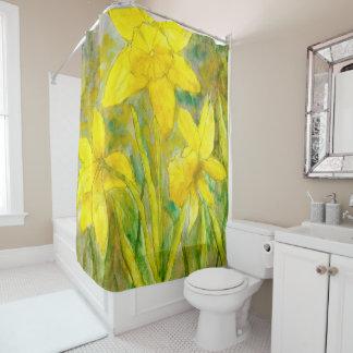 Watercolor Painting, Yellow Flowers Art, Daffodils シャワーカーテン