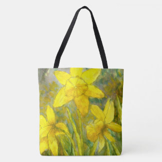 Watercolor Painting, Yellow Flowers Art, Daffodils トートバッグ