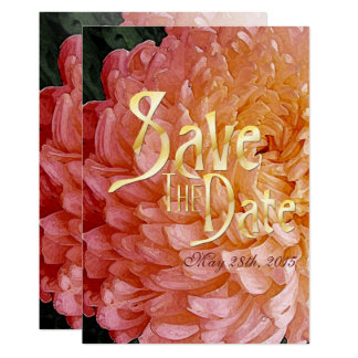 Watercolor Pink Chrysanthemum Wed Save The Date 12.7 X 17.8 インビテーションカード