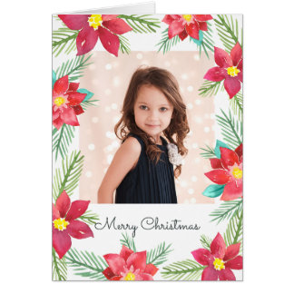Watercolor Poinsettias Photo Holiday Greeting Card カード