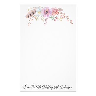 Watercolor Purple Floral & Feather Personalized 便箋