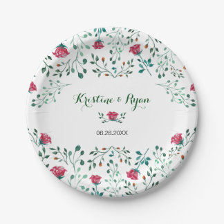 Watercolor Rose Garden Paper Plate ペーパープレート
