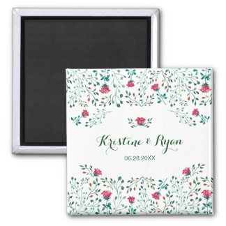 Watercolor Rose Garden Wedding Save the Date マグネット