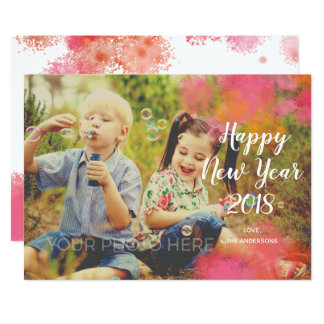 Watercolor Splash New Year Photo Card カード
