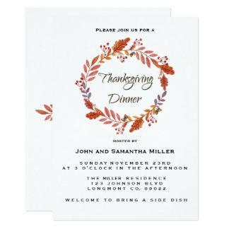 Watercolor Thanksgiving Invitation カード