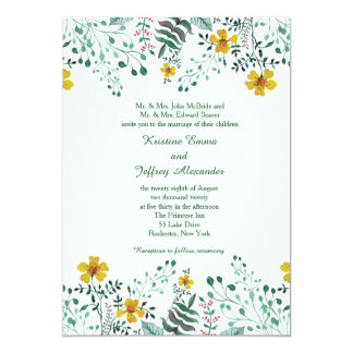 Watercolor Yellow Primrose Garden Wedding カード