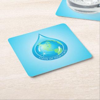 Waterdropの地球 スクエアペーパーコースター