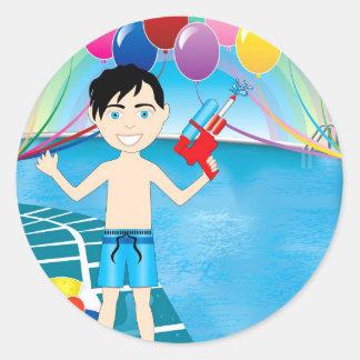 Watergunのプールの男の子 ラウンドシール