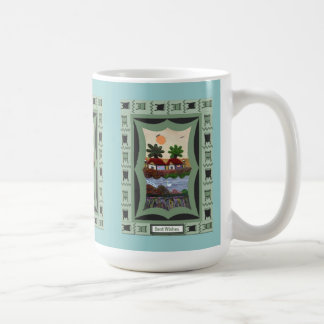 waterside場面の中国のなタペストリー コーヒーマグカップ