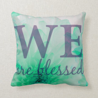 We are Blessed - Lilac & Blue Floral Print クッション