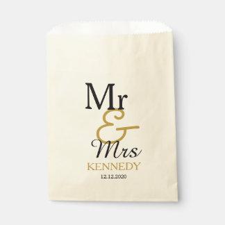 Weddingシンプルな黒および金ゴールドの氏および夫人 フェイバーバッグ