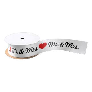 Wedding赤いハートの氏及び夫人 サテンリボン