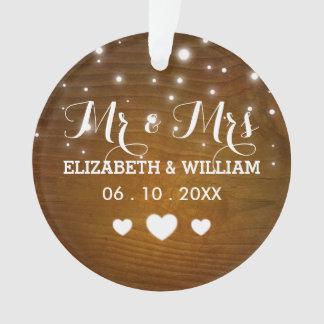 Wedding Hearts Christmas Ornament素朴な氏及び夫人 オーナメント