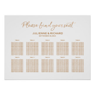 Wedding Seating Plan Rose Gold Lettered Sign ポスター