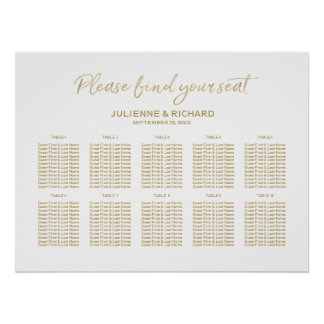 Wedding Seating Plan Stylish Golden Lettered Sign ポスター
