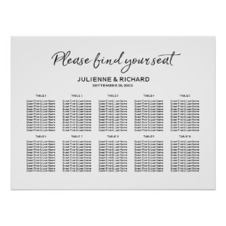 Wedding Seating Plan Stylish Lettered Sign ポスター