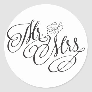 Wedding Stickerスクロールフォントの氏および夫人 ラウンドシール