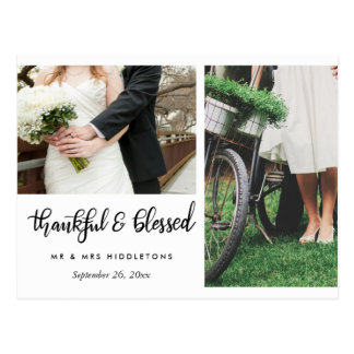 Wedding Thankful And Blessed Script | Two Photos ポストカード