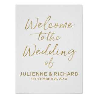 Wedding Welcome Stylish Golden Lettered Sign ポスター