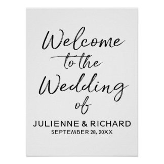 Wedding Welcome Stylish Lettered Sign ポスター