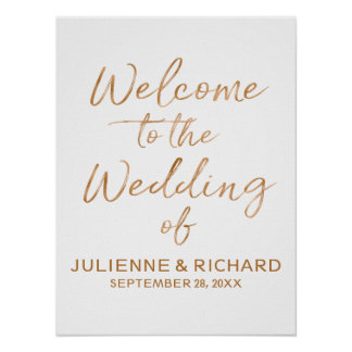 Wedding Welcome Stylish Rose Gold Lettered Sign ポスター