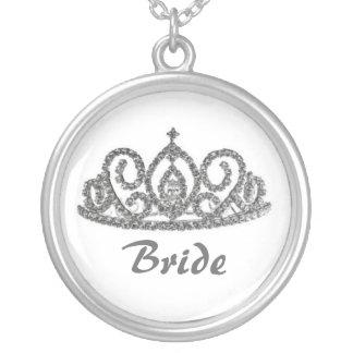 WeddingBrideの王室のなティアラ シルバープレートネックレス