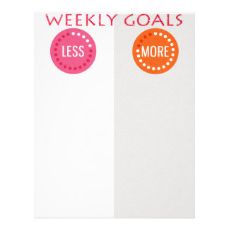 Weekly Goals More/Less Planner レターヘッド