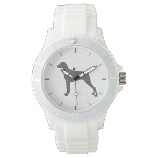 Weimaranerの白いシリコーンのウインナー犬の腕時計 腕時計