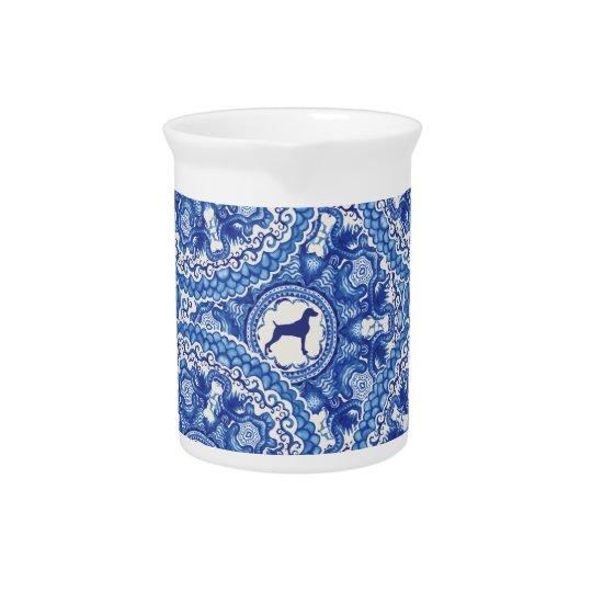 Weimaranerの青い中国のデザインの水差し ピッチャー