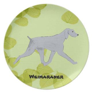 Weimaranerの~の緑の葉のデザイン プレート