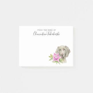 Weimaraner犬およびユリの水彩画|はあなたの名前を加えます ポストイット