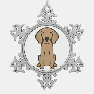 Weimaraner犬の漫画 スノーフレークピューターオーナメント