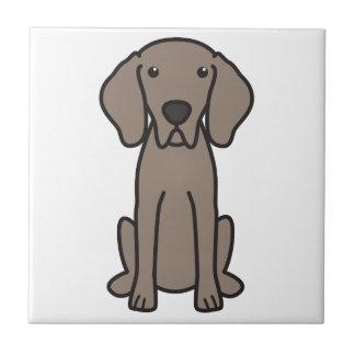 Weimaraner犬の漫画 正方形タイル小