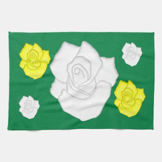 weiße Rosen キッチンタオル