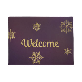 Welcome Mat Gold Snowflakes ドアマット