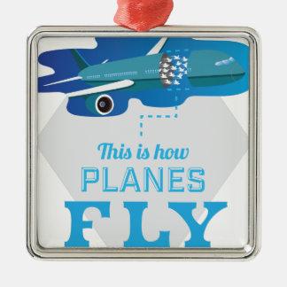 Wellcodaいかに飛行機のはえのジェット機の空の鳥 メタルオーナメント