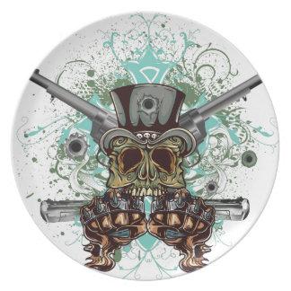 Wellcodaのギャングのスカルの頭部銃の弾丸 プレート
