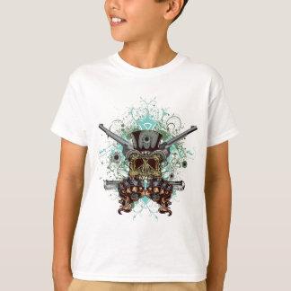 Wellcodaのギャングのスカルの頭部銃の弾丸 Tシャツ