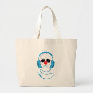 Wellcodaのスカルの頭部愛音楽ヘッドホーン ラージトートバッグ
