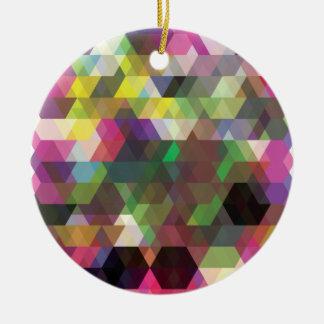 Wellcodaの多角形色の形の熱狂するなパターン セラミックオーナメント