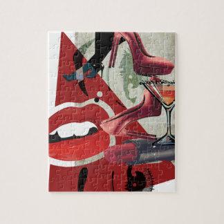 Wellcodaの女性の赤い唇のファッションの魅力 ジグソーパズル