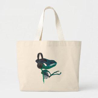 Wellcodaの恐竜のヘッドホーンの音楽愛好者 ラージトートバッグ