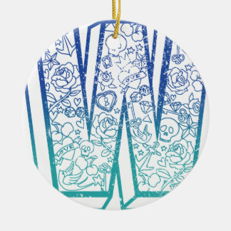 Wellcodaの服装大きいWの生命アルファベットの単語 セラミックオーナメント
