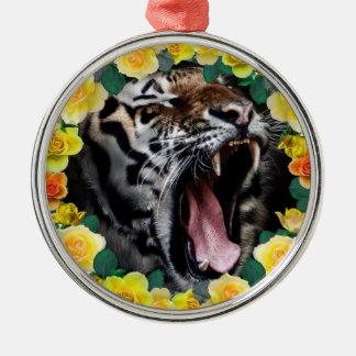 Wellcodaの花のトラ野生猫の自然の法律 メタルオーナメント